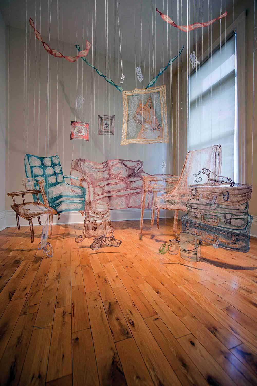 Details of Amanda McCavour's textile installation titled Living Room