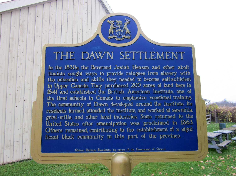 Ontario Heritage Trust plaque commemorating the Dawn Settlement