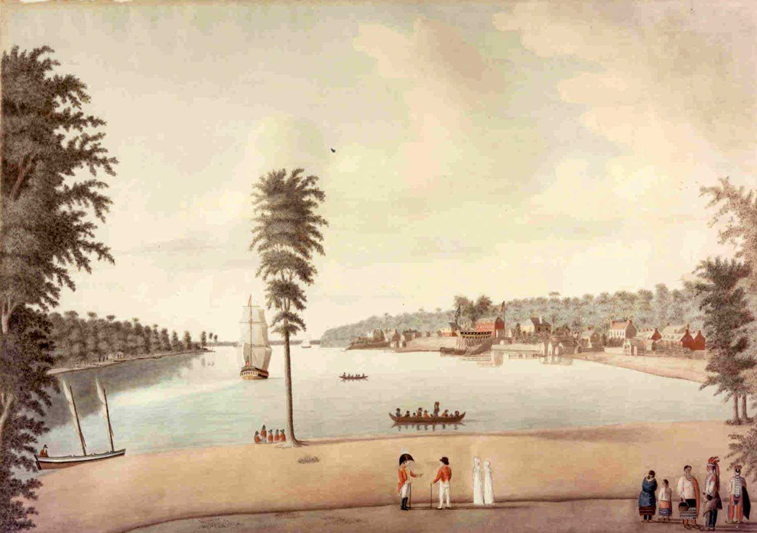 """A View of Amherstburg 1813,"""" by Margaret Reynolds. Courtesy of Parks Canada, Fort Malden National Historic Site."""