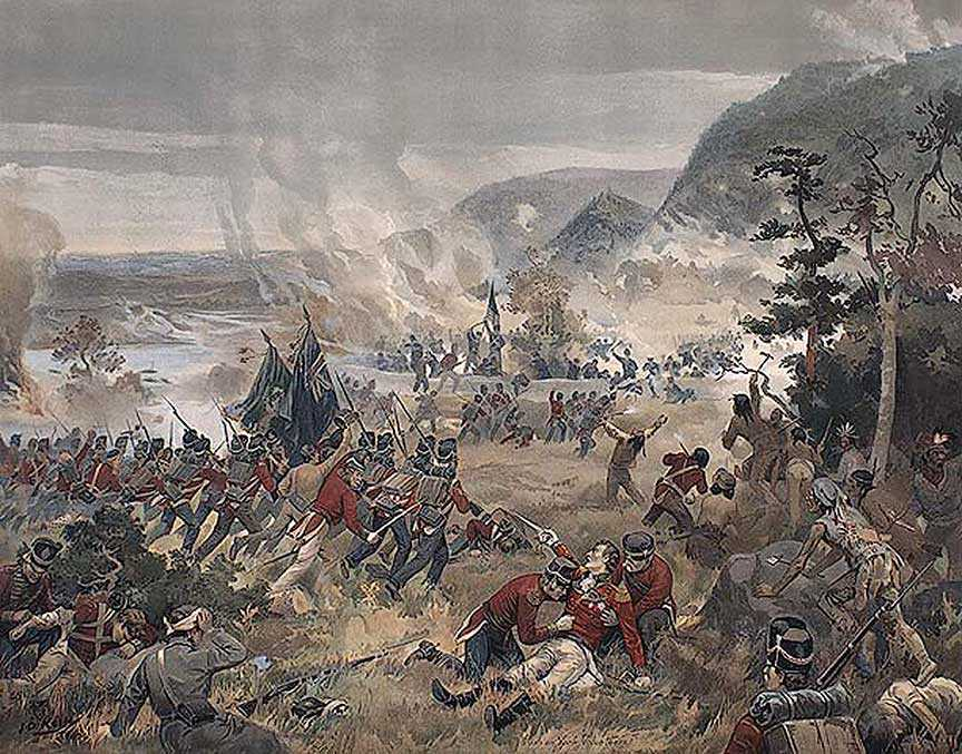 Battle of Queenston Heights, 13 October 1812 (Death of Brock), by John David Kelly, 1896. Library and Archives Canada, 1954-153-1.