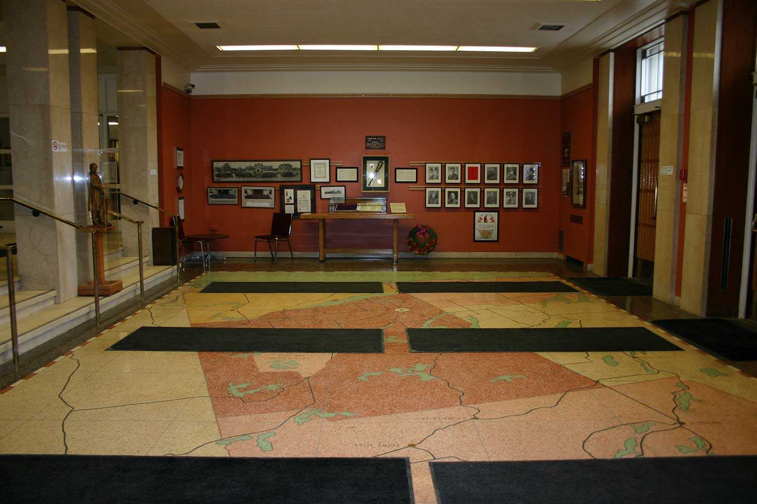 Terrazzo map of Peterborough County in front foyer of Peterborough City Hall Photo: Heritage Preservation Office, Arts, Culture and Heritage Division, City of Peterborough