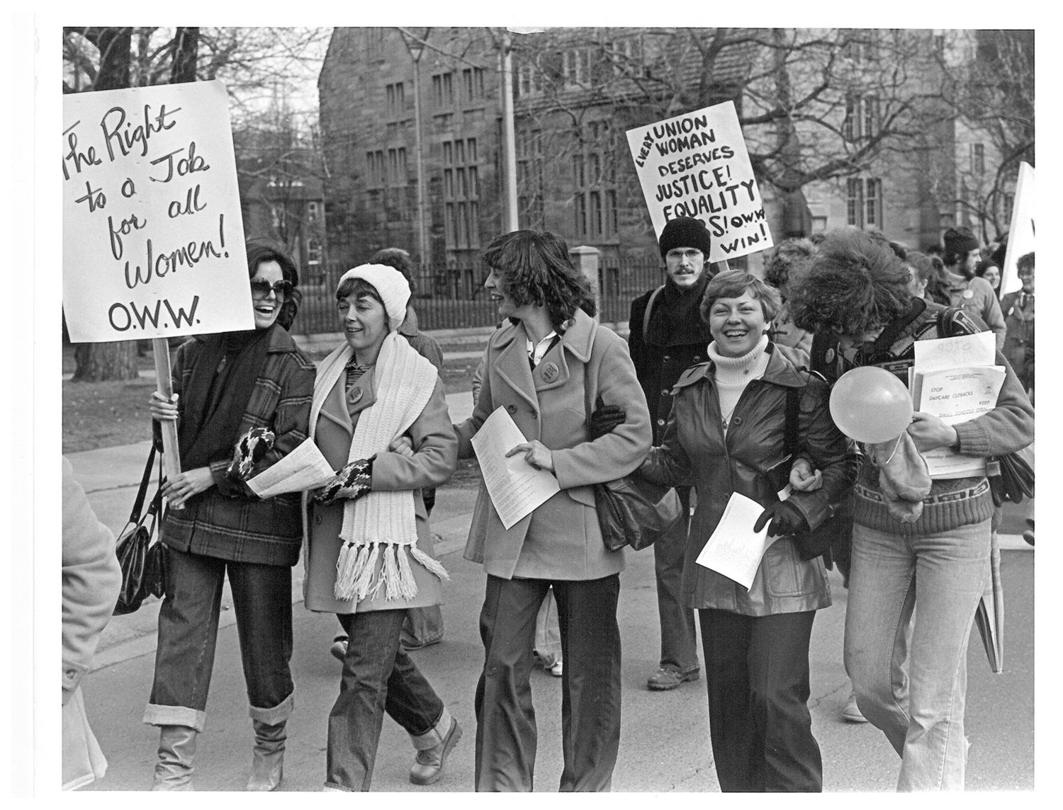 Women from Fleck Manufacturing leading the 1979 International Women's Day Parade in Toronto. Photo: Frank Rooney
