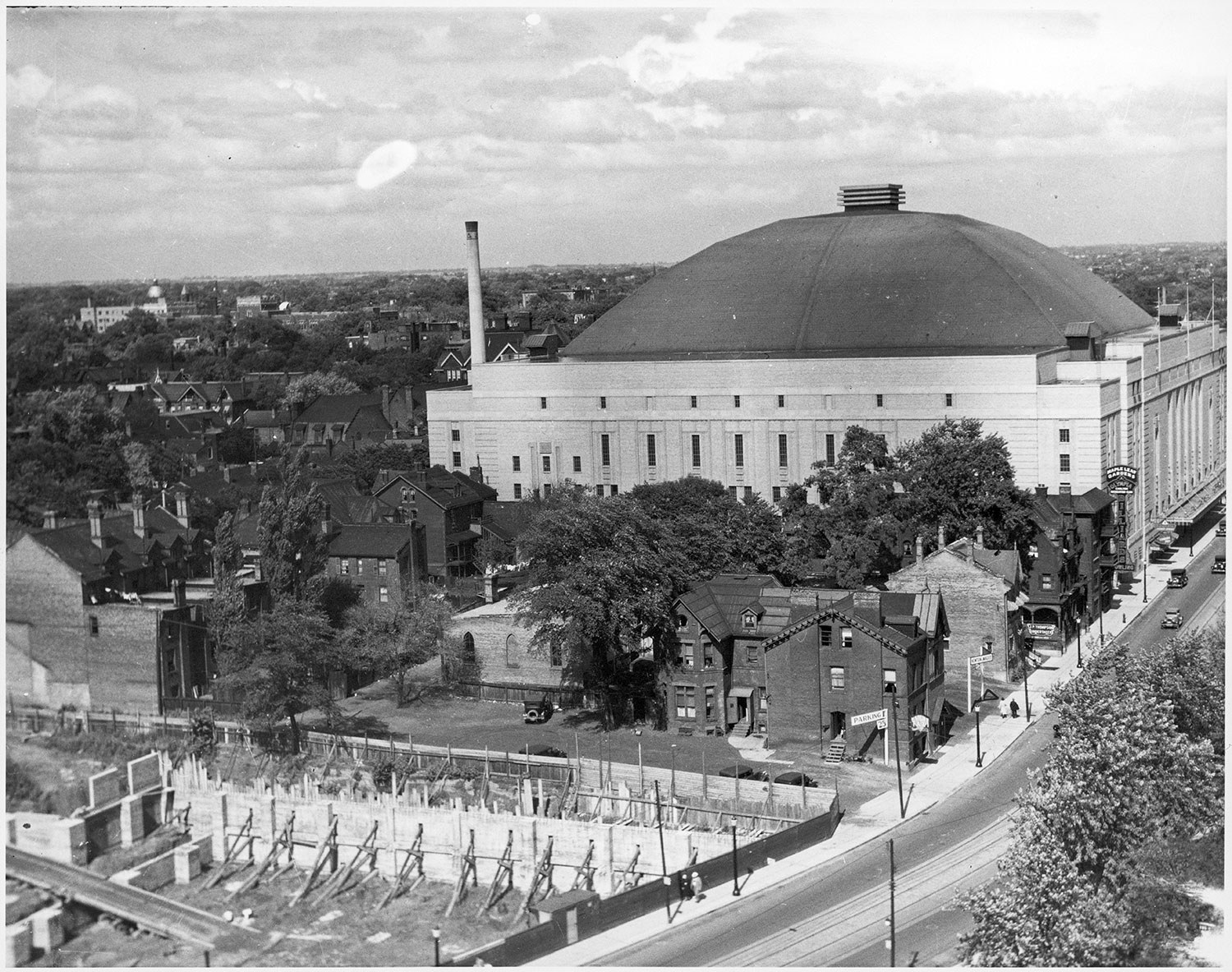 Maple Leaf Gardens, shown here, was designated a National Historic Site by the Government of Canada in 2007 – the only hockey arena in the country with this designation.