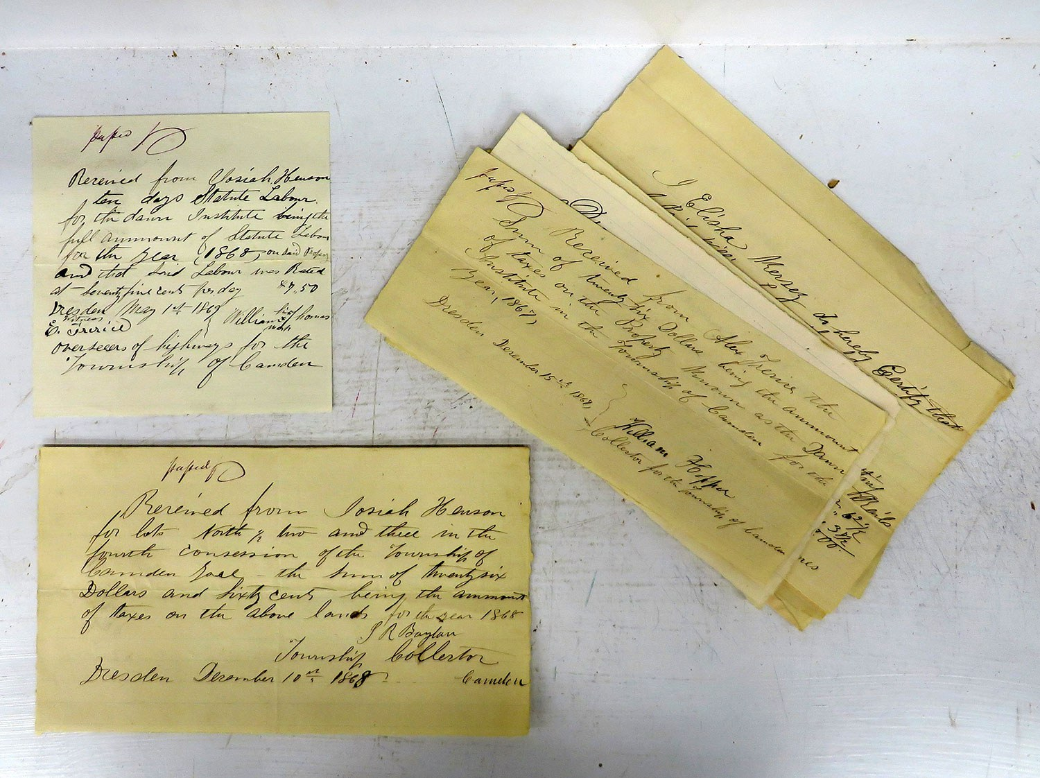 Handwritten receipts related to operation of the British American Institute.