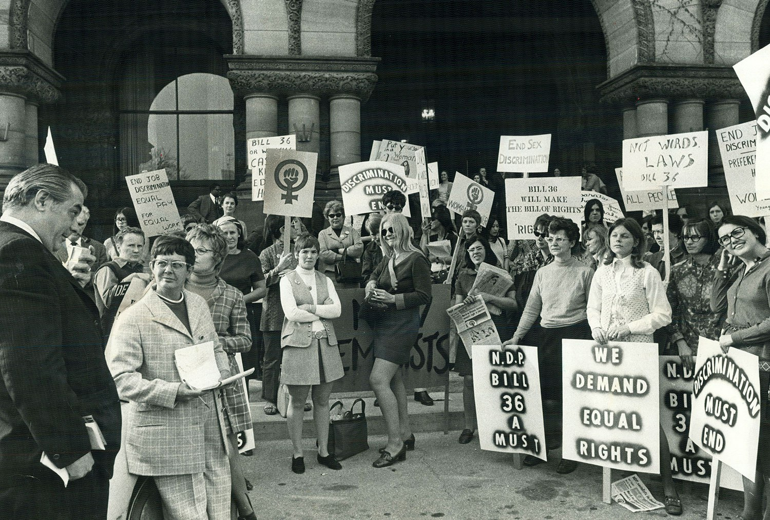 Members of the Voice of Women, Women's Liberation Movement, New Feminists and Young Socialists demonstrated at Queen's Park in April 1970, asking support for a bill to ensure that women get equal pay for equal work. (Photo: Dick Darrell/Toronto Star via Getty Images)