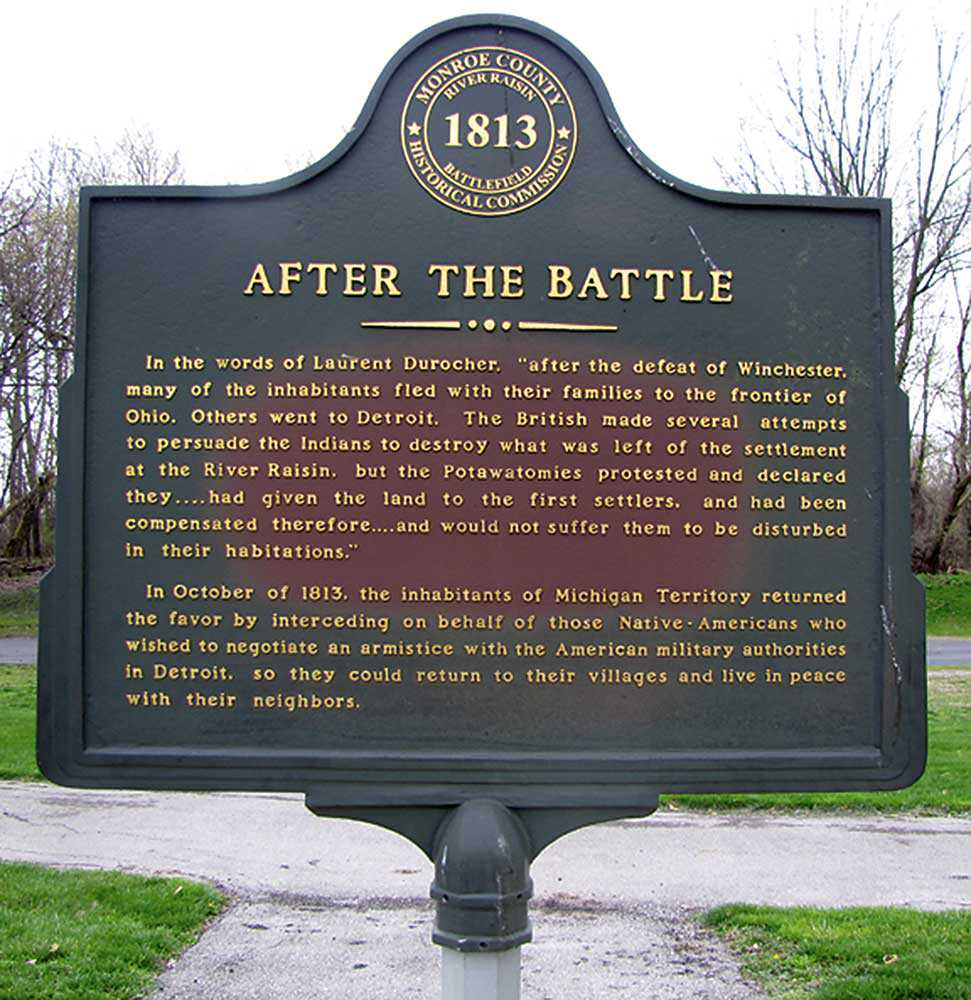 Plaque at the River Raisin National Battlefield Park in Monroe, Michigan. The Battle of Frenchtown, also know as the Battle of the River Raisin, was a series of conflicts that took place during the War of 1812. (Photo: Guillaume Teasdale)