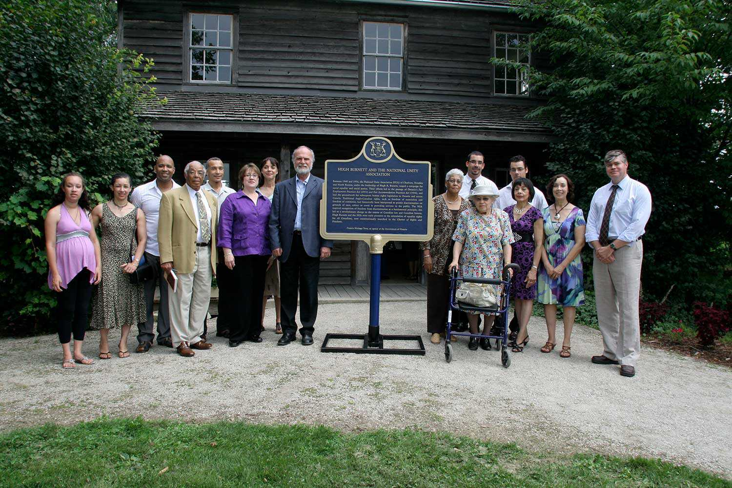 A provincial plaque was unveiled on July 31, 2010 as part of the Emancipation Day event at Uncle Tom's Cabin Historic Site in Dresden to commemorate Hugh Burnett and the National Unity Association.