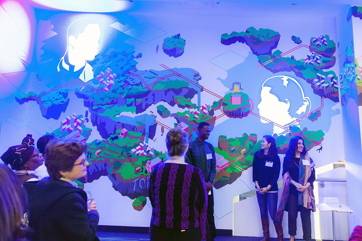 Leap of Faith mural by the George Brown School of Design team at the Lucie and Thornton Blackburn Conference Centre.