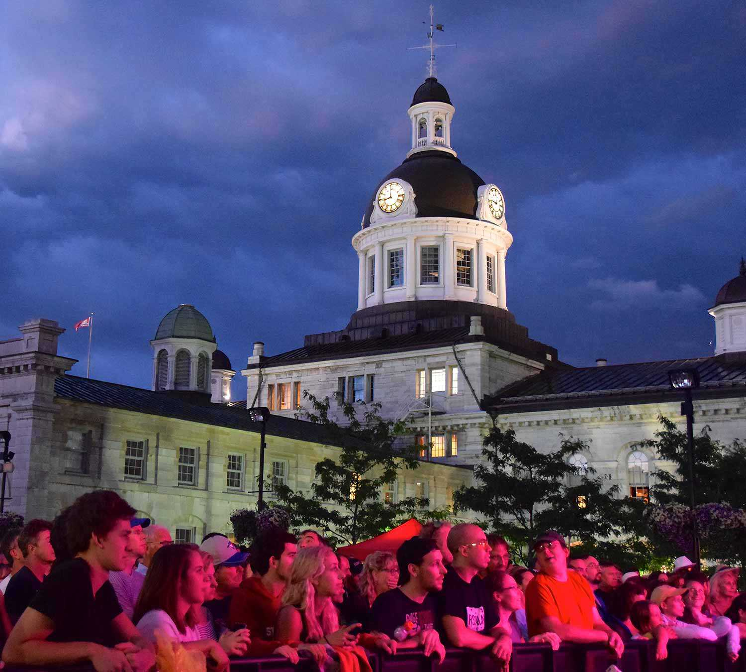 Kingston City Hall National Historic Site during movies in the square