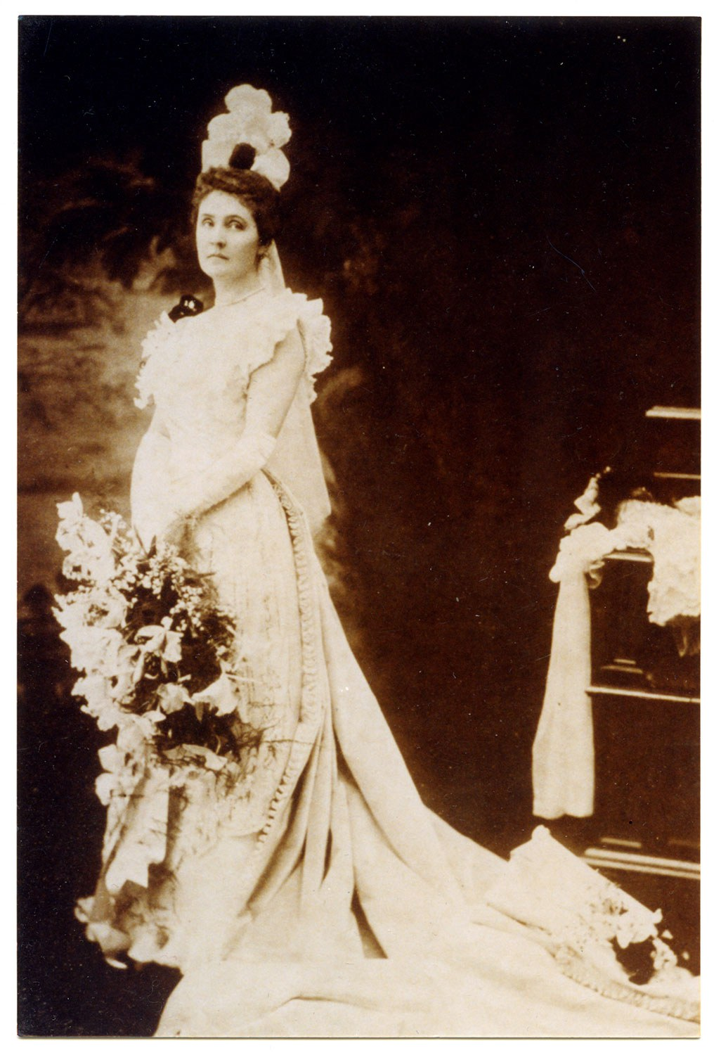 Mary Fulford dressed for presentation to the court of Queen Victoria circa 1900