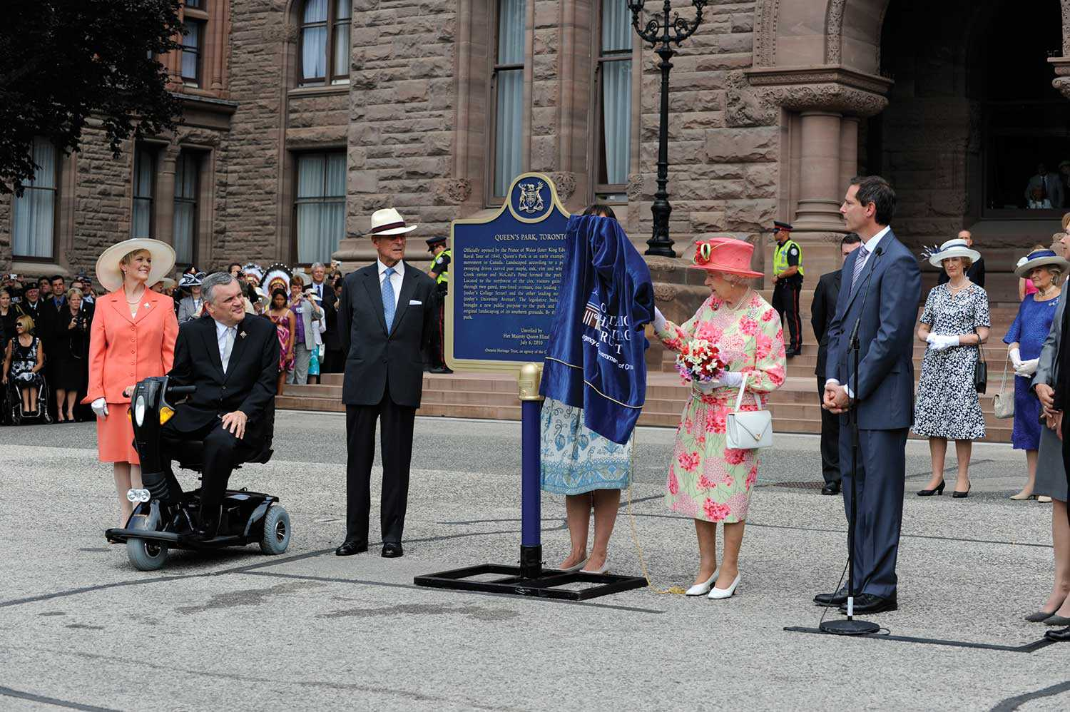 On July 6, 2010, Queen Elizabeth II unveiled a provincial plaque to commemorate the 150th anniversary of Queen's Park (Photo: Rick Chard)
