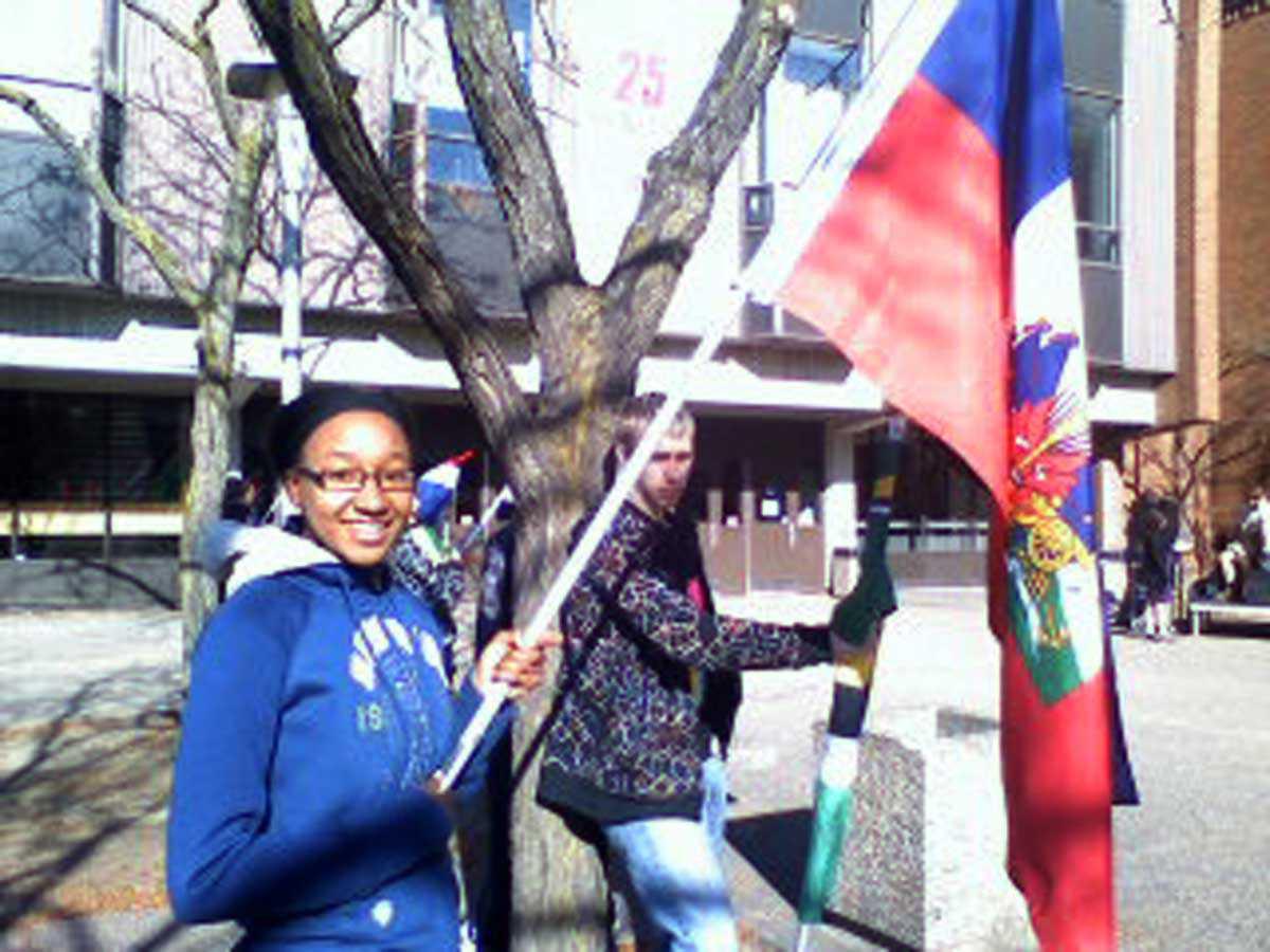 Michelle Lafleur celebrating Francophone Day at De La Salle high school.