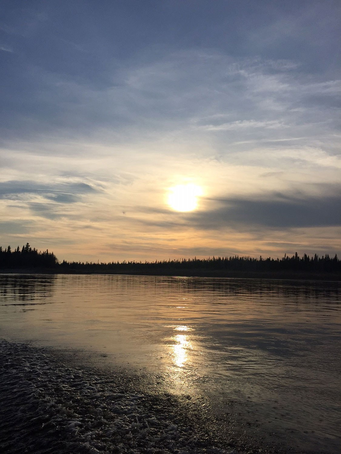 Sunset on the Moose River in Moose Factory.