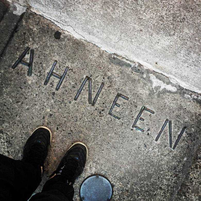 Ahneen, which means 'Hello' in Anishinaabemowin, is written on the front step of the Native Canadian Centre.