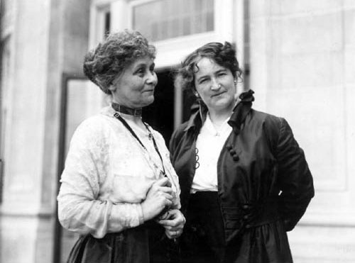 Nellie McClung. Photo: Nellie McClung (right) with renowned British suffragette Emmeline Pankhurst in Edmonton, Alberta. Photo with permission of Glenbow Archives (NC-6-1746)