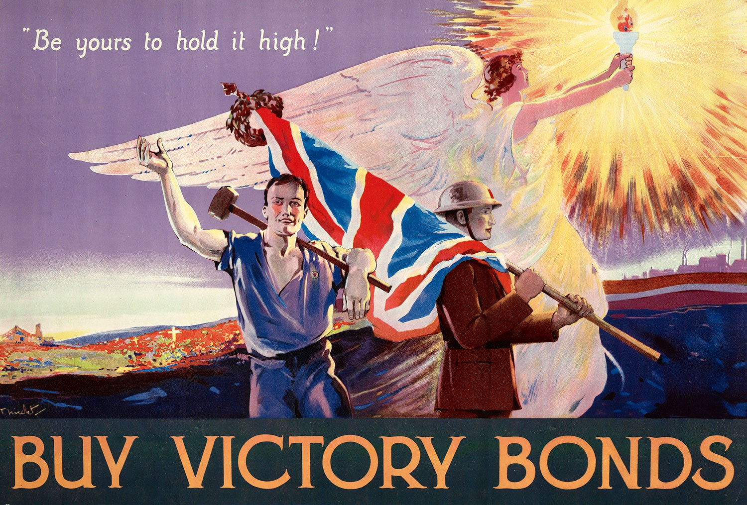 """""""Be yours to hold it high!"""" Buy Victory Bonds propaganda poster"""