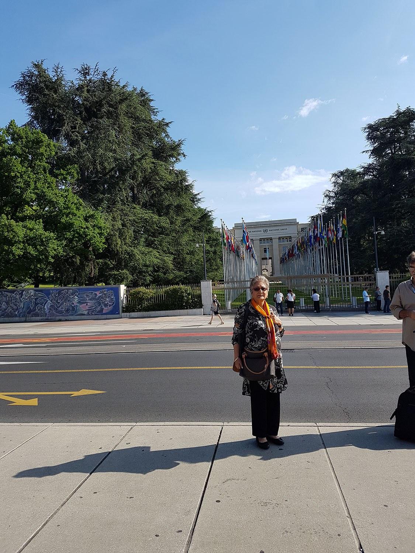 Raheel Raza outside of the United Nations Office in Geneva
