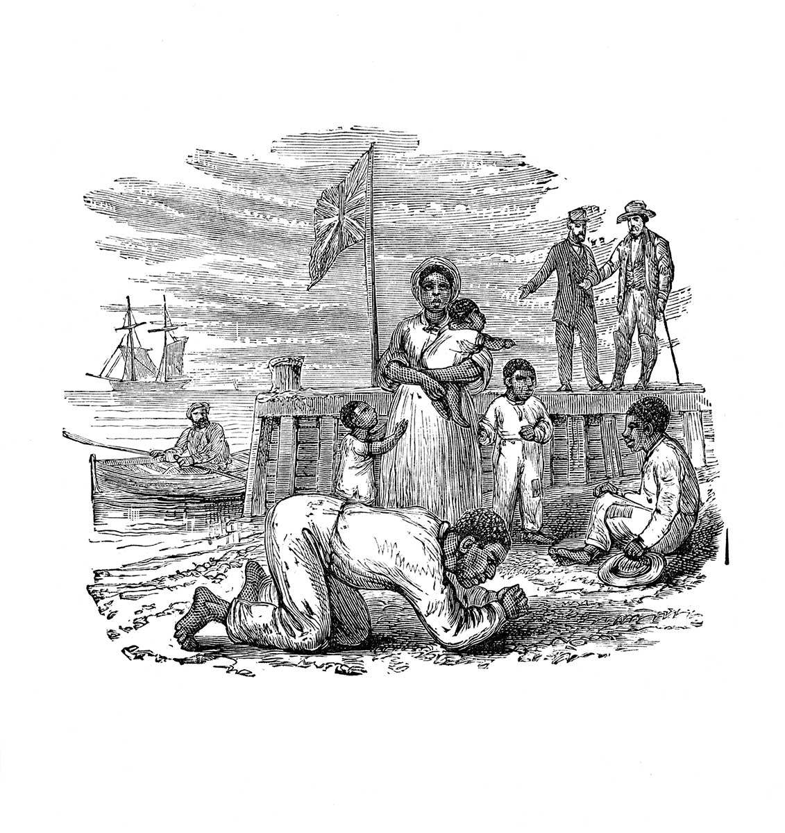 The Henson family arrives on the Canadian shore the morning of October 28, 1830. Source: Uncle Tom's Story of His Life, An Autobiography of the Rev. Josiah Henson.