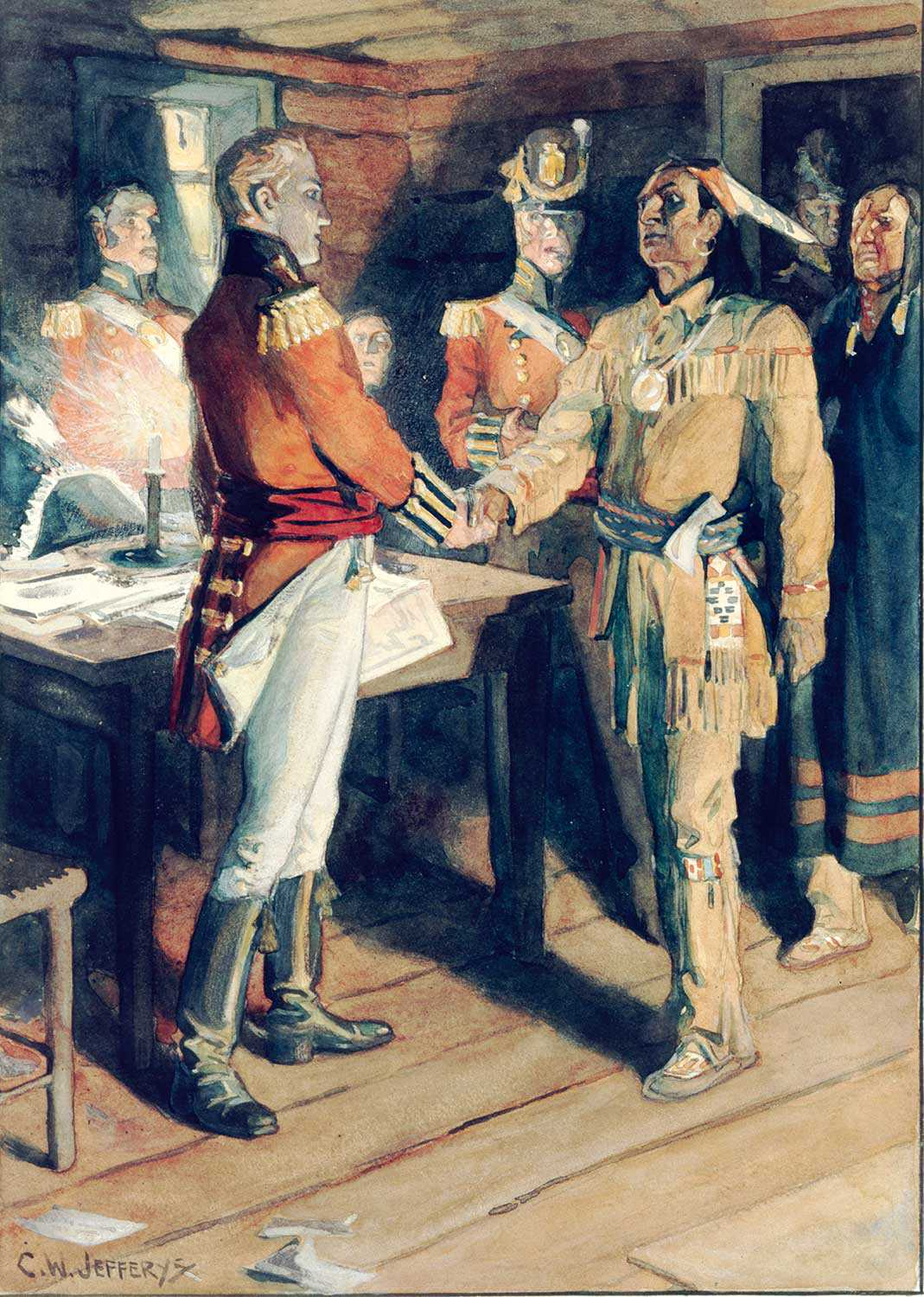 Meeting of Brock and Tecumseh, 1812, by C.W. Jeffreys, 1869-1951. Library and Archives Canada, 1972-26-1360.