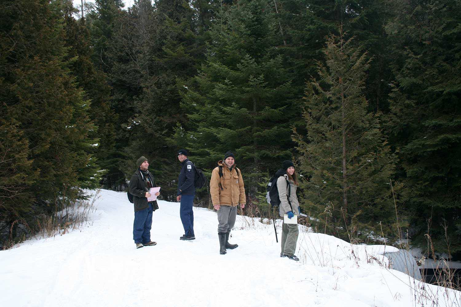 Fleming College students with Kawartha Conservation Area Coordinator Jessie James, preparing to gather data on the Fleetwood Creek plantations, spring 2010