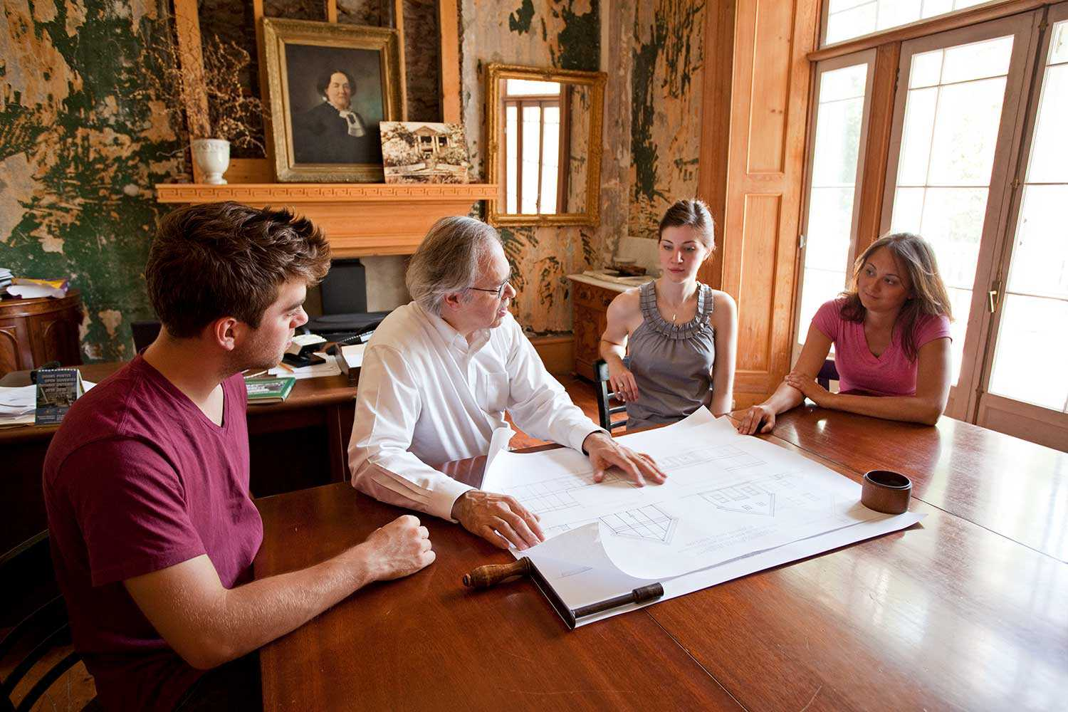 Executive Director Julian Smith reviews design proposals with Heritage Conservation Program students (Photo courtesy of Willowbank School of Restoration Arts)