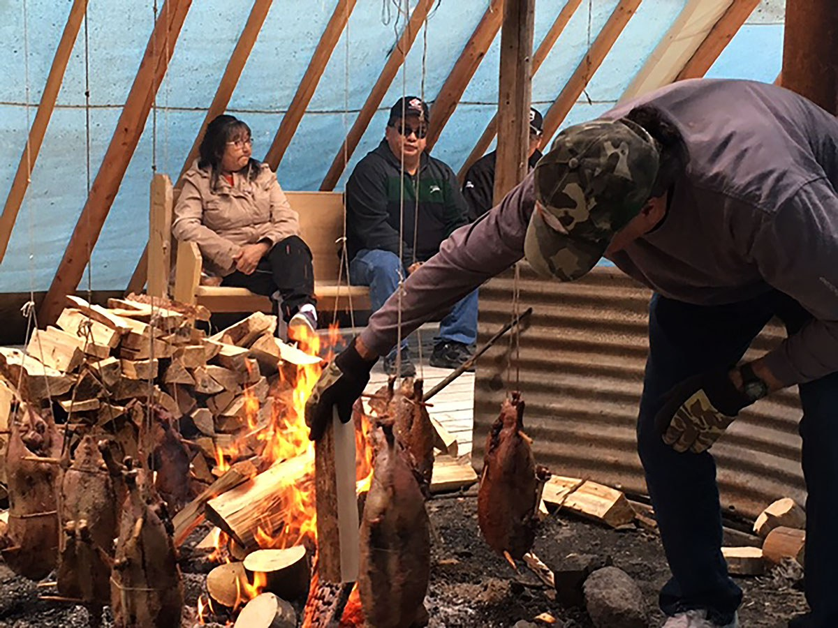 A Moose Cree community goose roast on Moose Factory