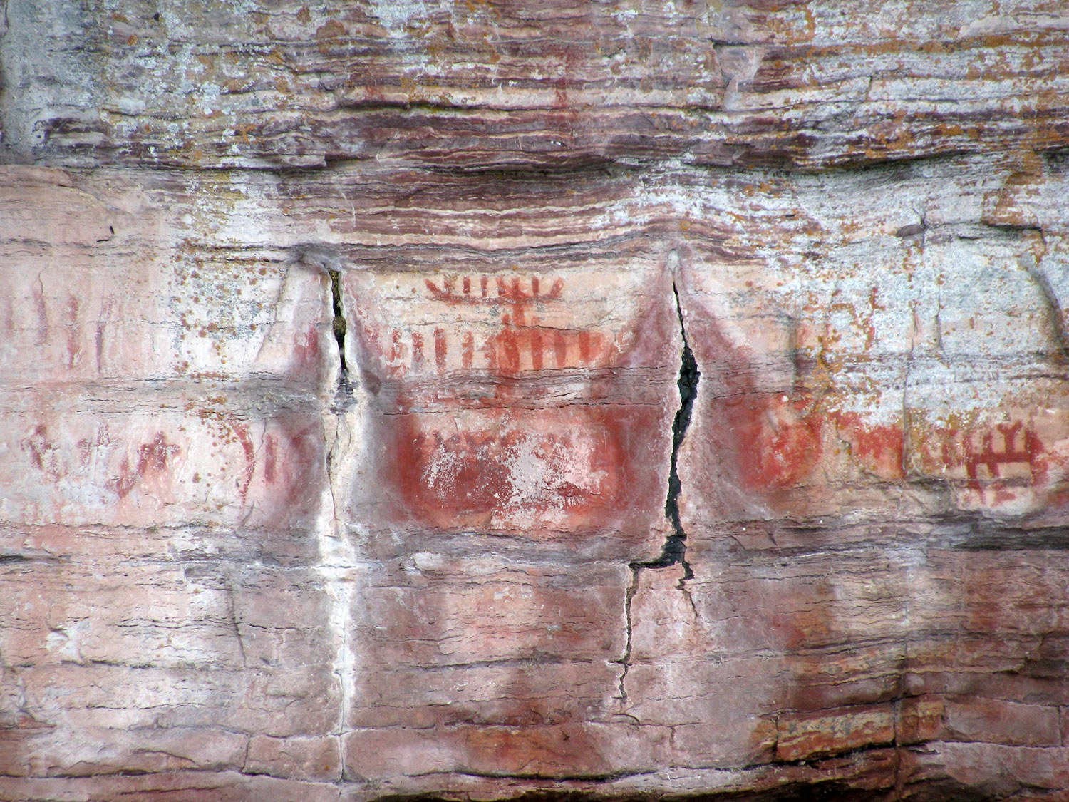 The Maymaygwayshi, or water sprite, painted on a cliff near the mouth of the Nipigon River