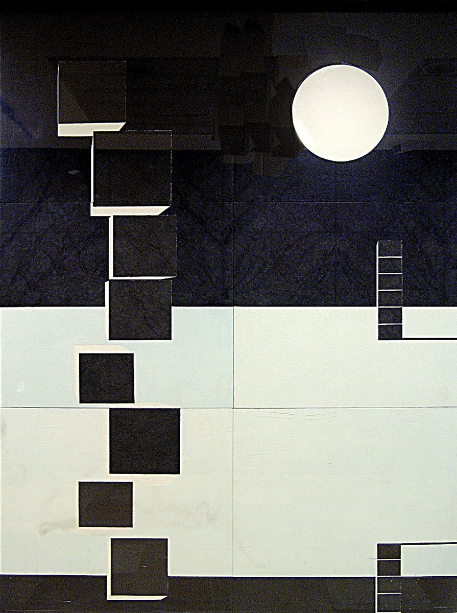 Kazuo Nakamura, Two Horizons, oil on canvas, 261.6 x 196.9 cm. Government of Ontario Art Collection, 619763.