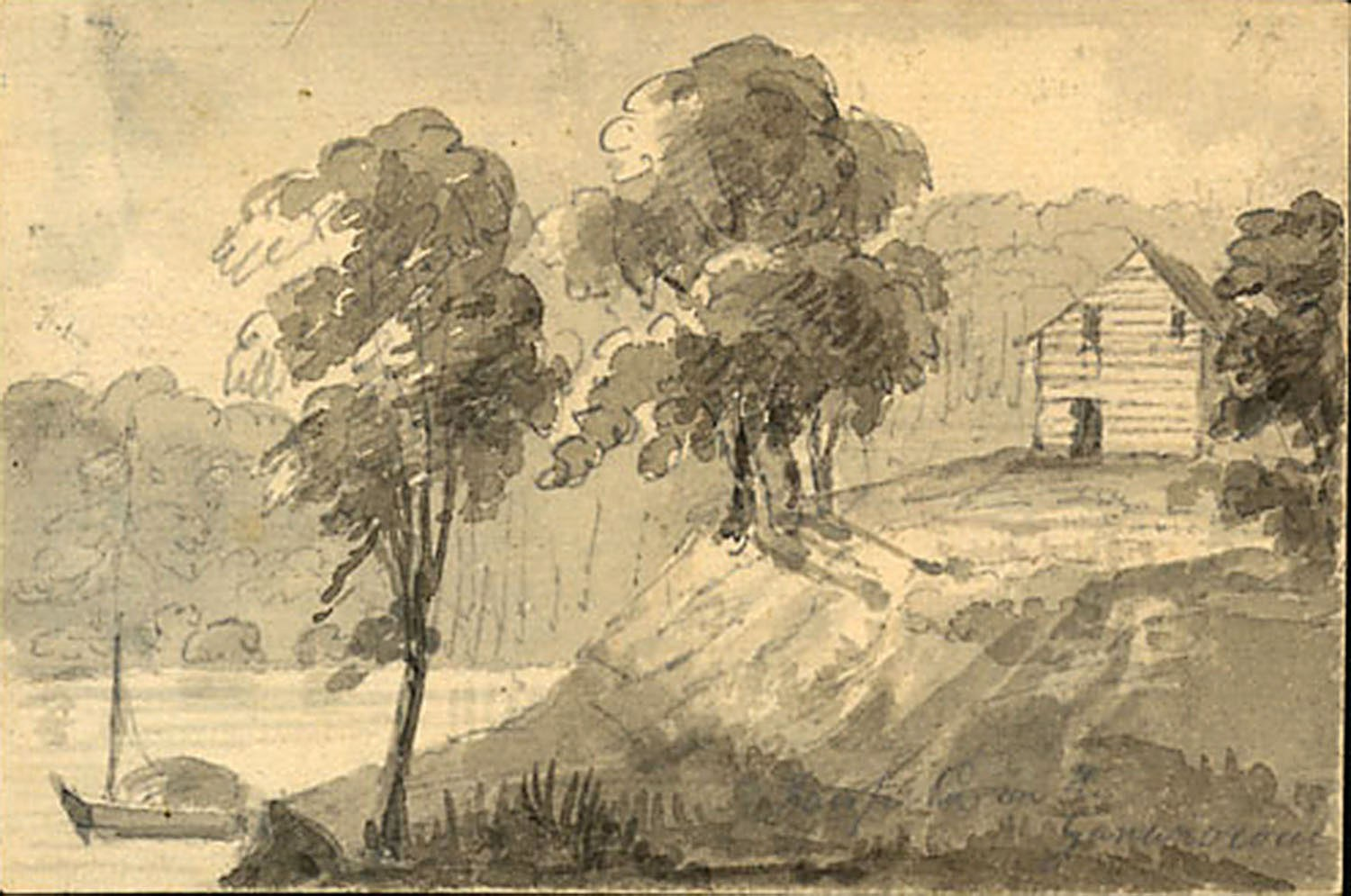 Elizabeth Simcoe, Fanfield on the Gananocoui, below Kingston, September 15, 1795, watercolour, F47-11-1-0-145, Archives of Ontario.