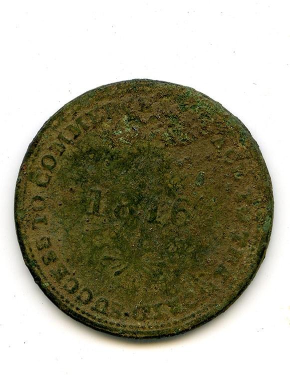 Isaac Brock half-penny token 1816