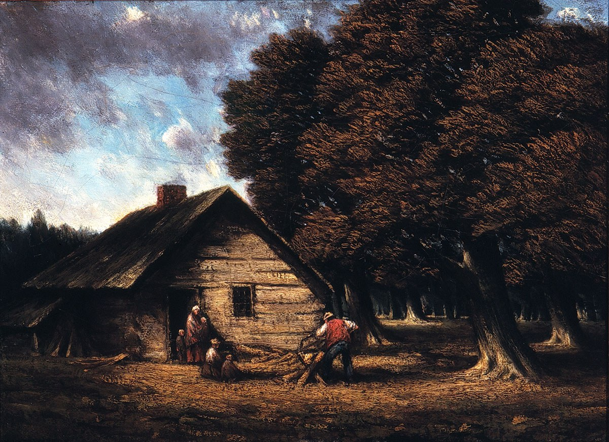 The Pioneer Cabin, painted by Homer Watson (1900). Reproduction courtesy of Homer Watson House & Gallery.